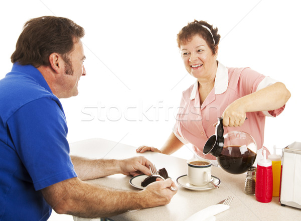 Stock photo: Waitress Serves Cake and Coffee