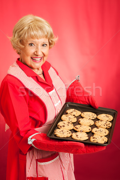 Retro Housewife Bakes Chocolate Chip Cookies Stock photo © lisafx