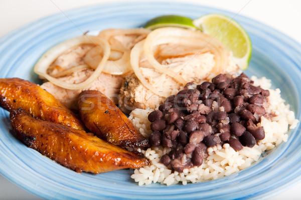 Kubai konyha hagyományos étel disznóhús fekete Stock fotó © lisafx