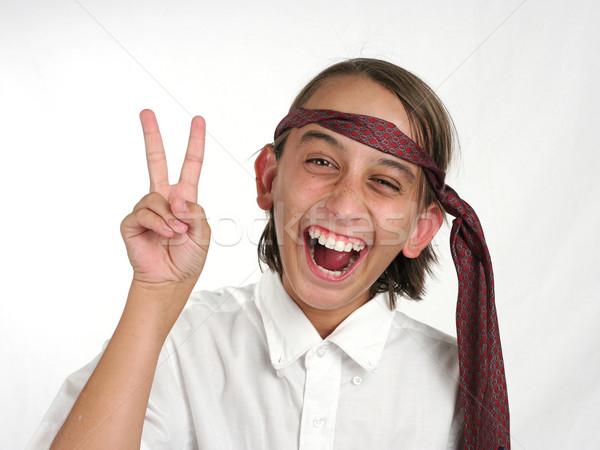 Osztály bohóc fiatal srác iskolai egyenruha hülye ahogy Stock fotó © lisafx