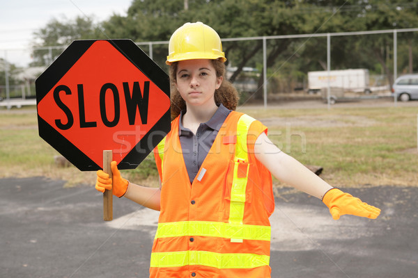 Stock photo: Construction Slow Sign
