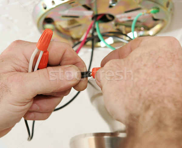 Electrician Connecting Wires Stock photo © lisafx