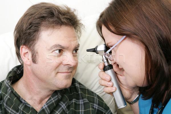 Orvosi vizsgálat szemek nővér megvizsgál nő szem Stock fotó © lisafx