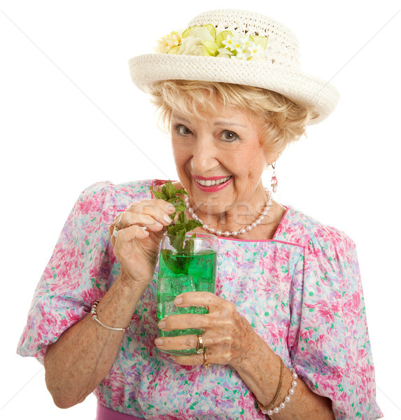 Stock photo: Kentucky Senior Lady with Mint Julep