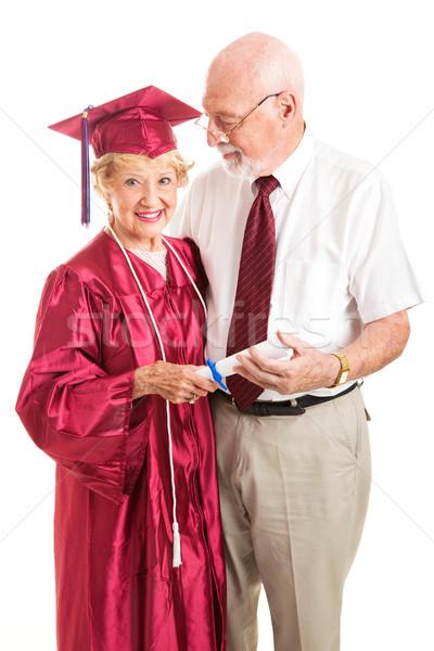 Senior signora coniuge celebrare laurea orgoglioso Foto d'archivio © lisafx