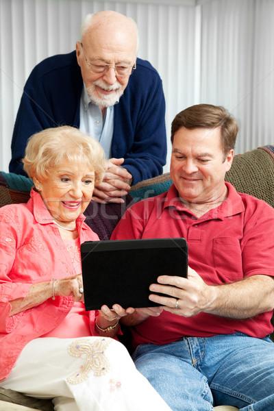 Stock photo: Tablet PC - Teaching Senior Parents