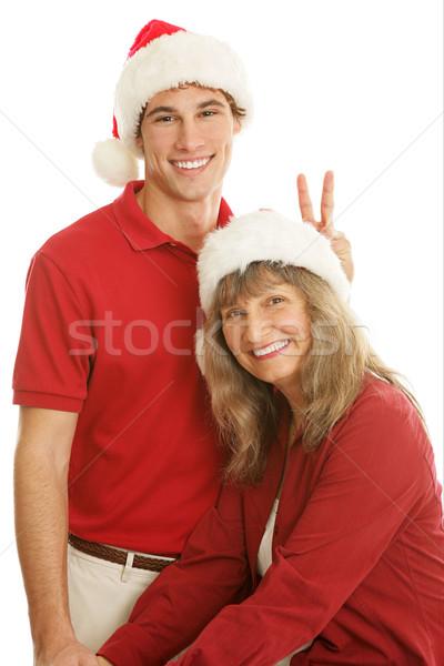 Christmas Portrait Goofing Around Stock photo © lisafx