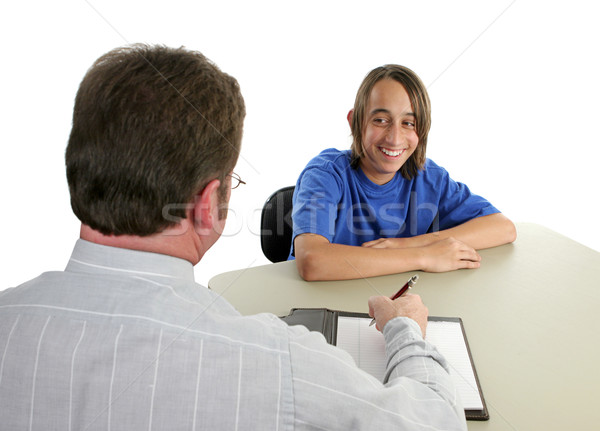 Stockfoto: Student · leraar · glimlachend · conferentie · business · school