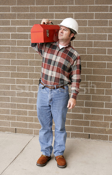 Dolgozik férfi teljes kilátás védősisak szerszámosláda Stock fotó © lisafx