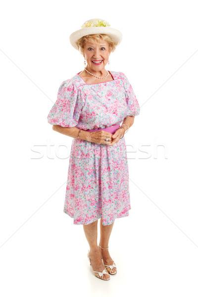 Kıdemli güney güzel bayan parti elbise Stok fotoğraf © lisafx