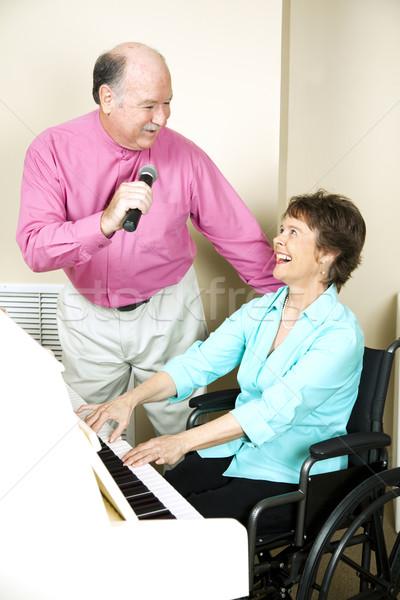 Boldog érett zenészek idős férfi zongorista Stock fotó © lisafx