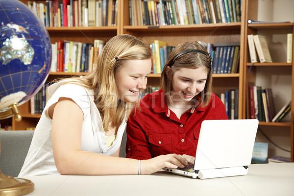 Güzel gençler bilgisayar lise kızlar netbook'lar Stok fotoğraf © lisafx