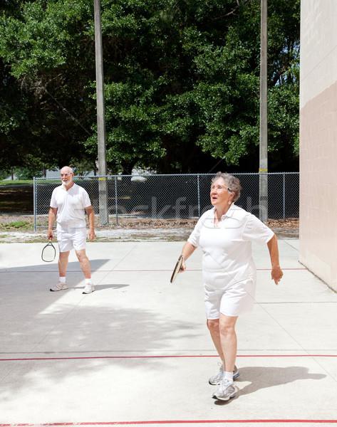 Stock fotó: Idősek · bíróság · aktív · idős · pár · játszik · fitnessz
