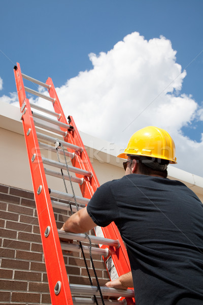 Construction Worker Climbs Ladder Stock photo © lisafx
