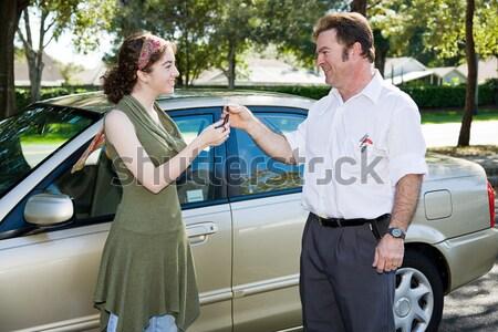 High five prêt disque adolescente conduite test Photo stock © lisafx