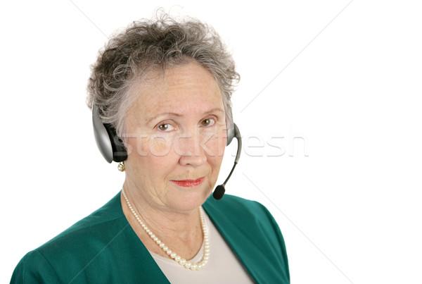 Zdjęcia stock: Poważny · telefonu · operatora · starszy · banku · wolontariusz