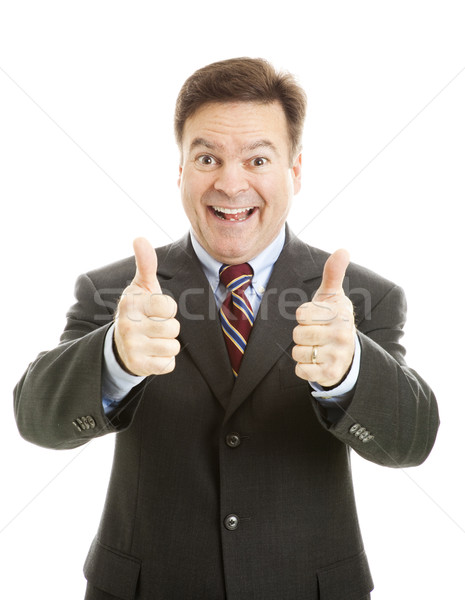 Enthusiastic Businessman Two Thumbs Up Stock photo © lisafx