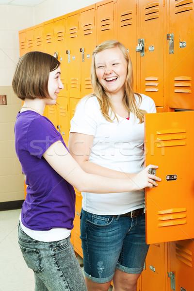 Teenage Girls Gossip by Lockers Stock photo © lisafx