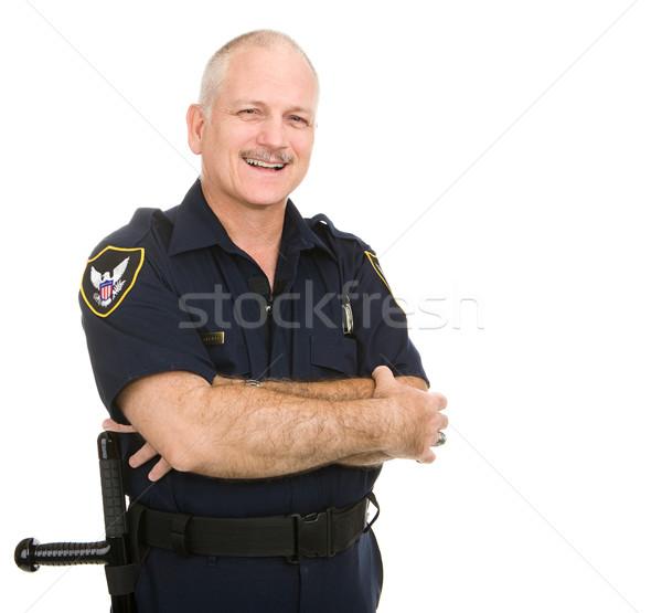 Stok fotoğraf: Polis · memuru · gülümsüyor · dostça · gülen · yukarı