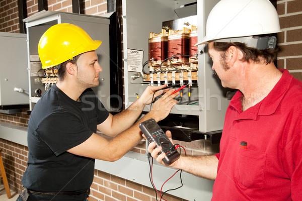 Tamir güç dağıtım çalışma endüstriyel Stok fotoğraf © lisafx