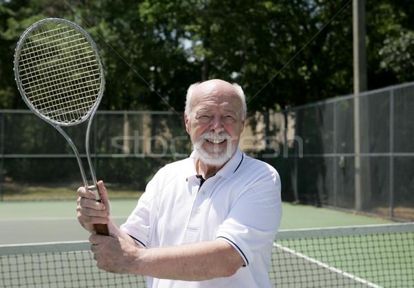 Senior Man Plays Tennis Stock photo © lisafx