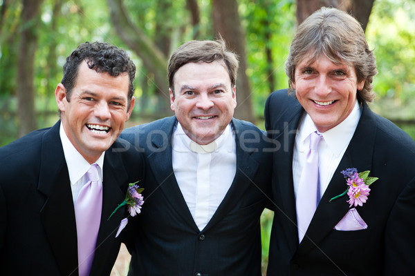 Minister Posing With Gay Wedding Couple Stock photo © lisafx