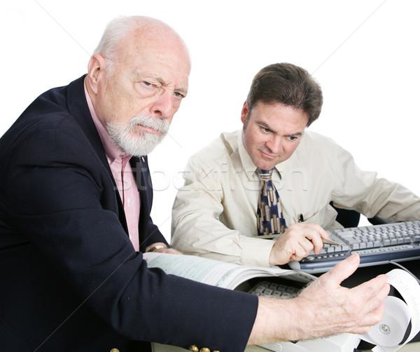 Ricco senior uomo sconvolto fiscali bill Foto d'archivio © lisafx