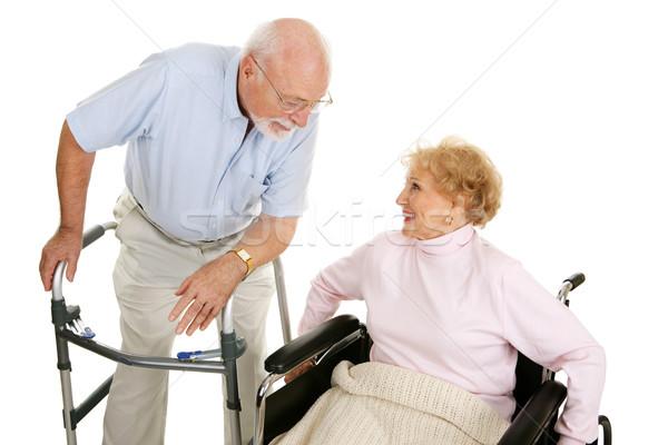 Foto stock: Senior · senhoras · homem · senhora · cadeira · de · rodas
