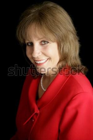 Gülen işkadını kırmızı güzel olgun iş kadını Stok fotoğraf © lisafx