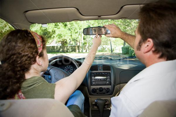 Stockfoto: Teen · bestuurder · spiegel · tienermeisje · rijden · instructeur