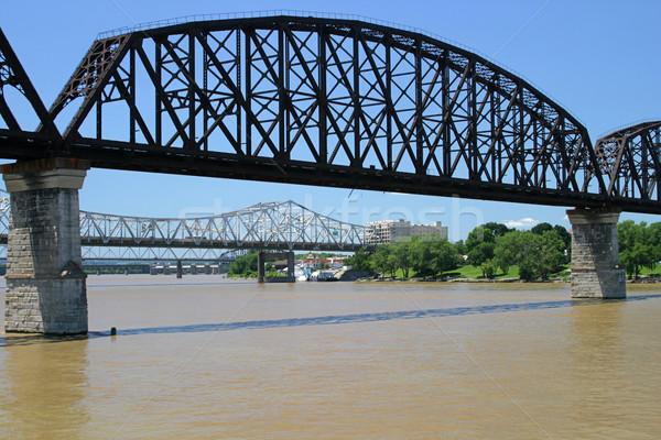 üç Ohio nehir köprüler gökyüzü şehir Stok fotoğraf © lisafx