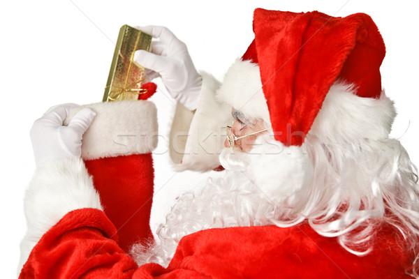 Mikulás harisnya mikulás mondatrész fényes karácsony Stock fotó © lisafx