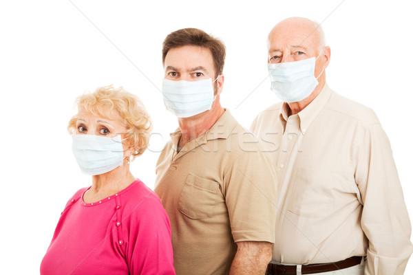 Felnőtt család influenza védelem idős pár fiú Stock fotó © lisafx