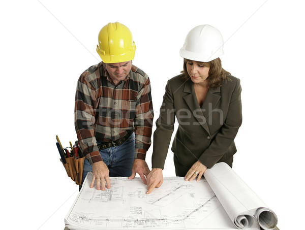 Engineer & Congractor Review Blueprints Stock photo © lisafx