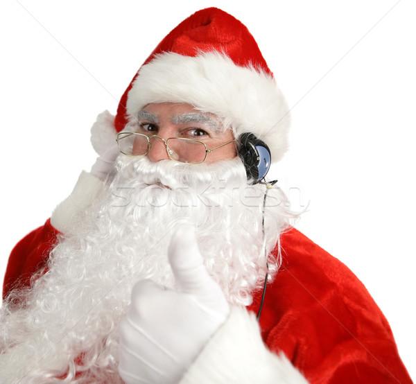 Santa Headphones Thumbsup Stock photo © lisafx