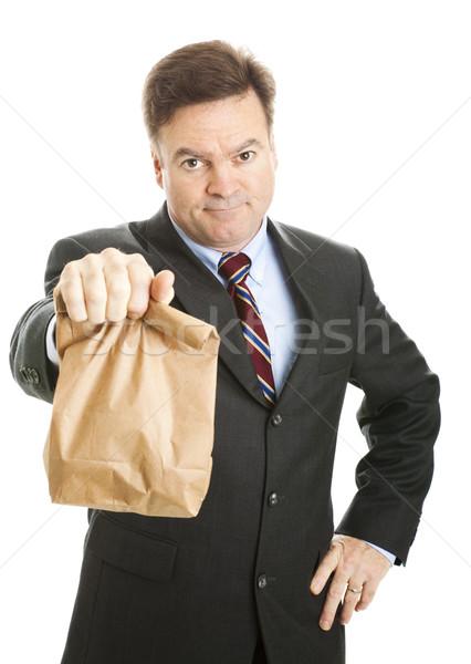 Barna munka üzletember takarékosság pénz ebéd Stock fotó © lisafx
