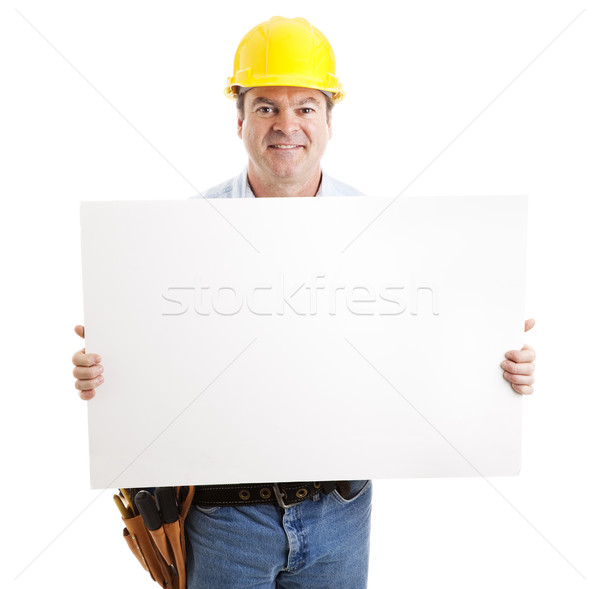 Friendly Construction Worker with Sign Stock photo © lisafx