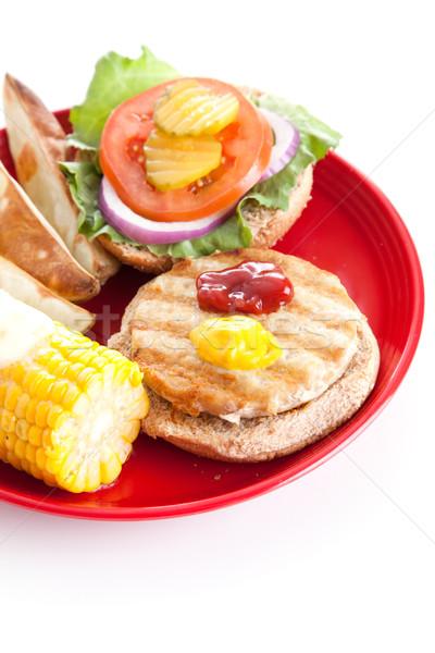 Healthy Turkey Burger - Vertical Stock photo © lisafx
