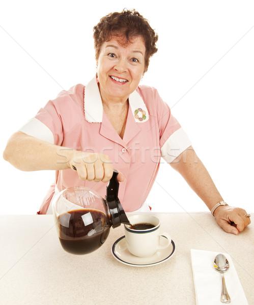 Accueillant serveuse café déjeuner contre Photo stock © lisafx