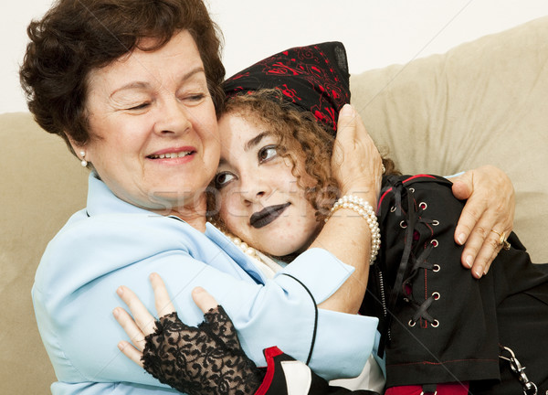 Sevmek anne goth kız aile Stok fotoğraf © lisafx