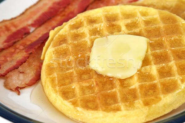 Waffles & Bacon Closeup Stock photo © lisafx