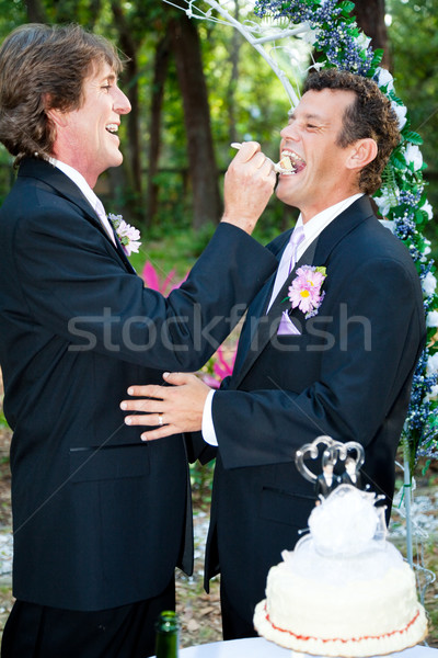 Gay Marriage - Eating Cake Stock photo © lisafx