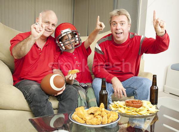 Futebol fãs pequeno menino assistindo Foto stock © lisafx