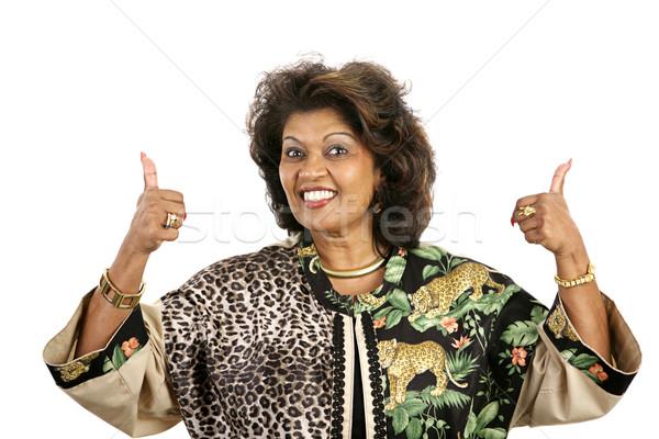 Entusiasta bella etnica donna isolato bianco Foto d'archivio © lisafx