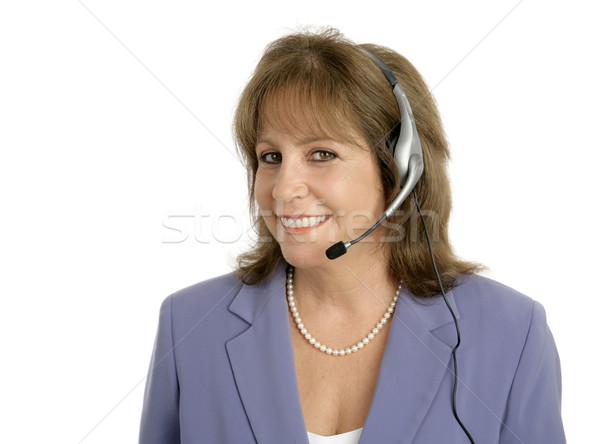Barátságos ügyfélszolgálat csinos képviselő kész segítség Stock fotó © lisafx