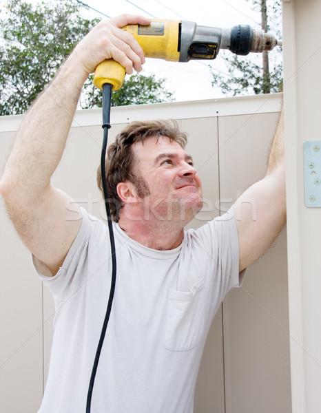 Złota rączka moc wiercenia projektu człowiek budowy Zdjęcia stock © lisafx