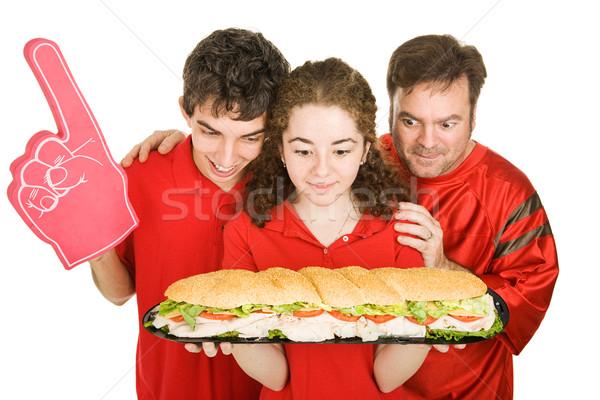 Aç sandviç insanlar futbol parti bakıyor Stok fotoğraf © lisafx