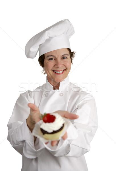 Sütemény szakács barátságos boldog néz tart Stock fotó © lisafx