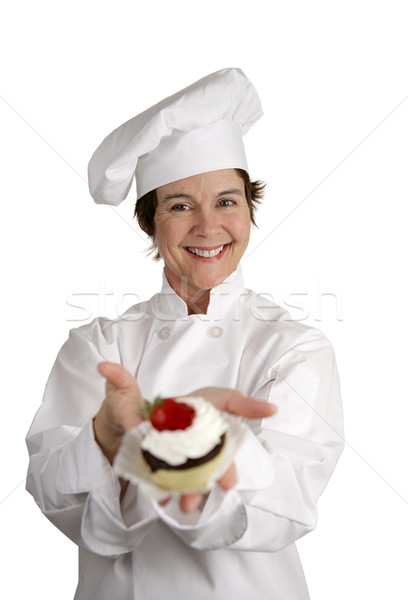Foto stock: Chef · amistoso · feliz · mirando