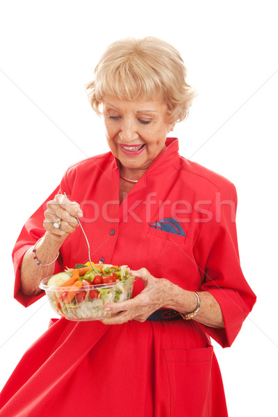 Senior Lady Eating Healthy Salad Stock photo © lisafx